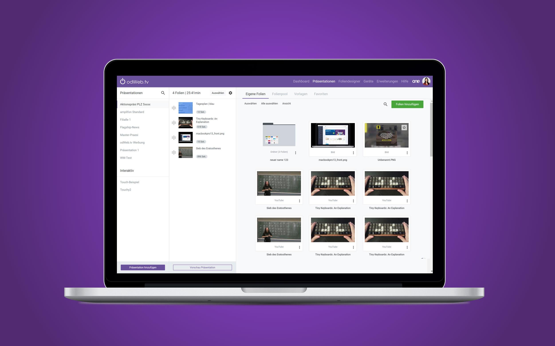 Laptop mit odWeb.tv Screenshot